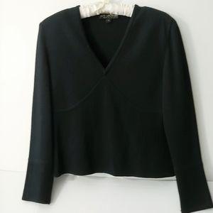 St John Vneck  Cropped Sweater- Black